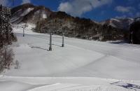 晴れた日のゲレンデ雪景色